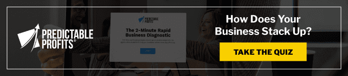 a banner with a button to take a 2-minute business diagnostic quiz