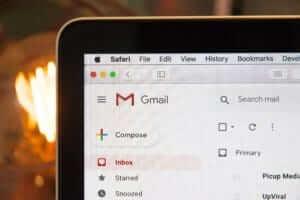 a laptop screen showing a Gmail inbox