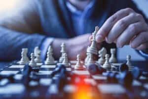 closeup of a chess victory