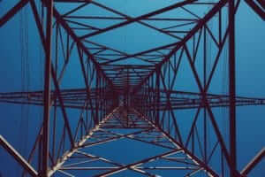 an upward view of a large antenna tower