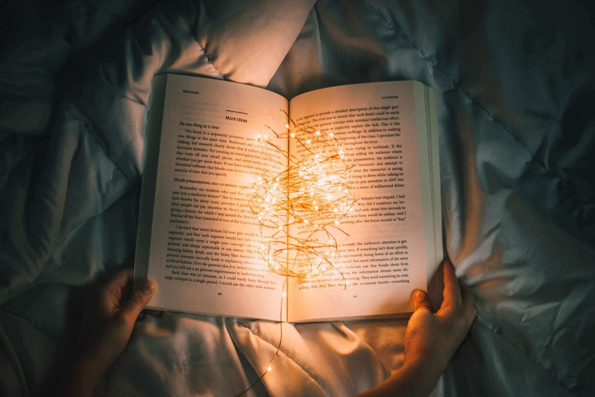 an open book willed with small lights