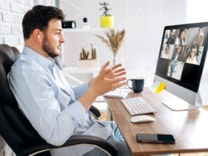 a salesperson in a virtual meeting
